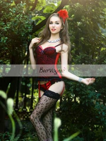 Wonderful Hot Girl Wear Red Bridal Women Corset Bustier