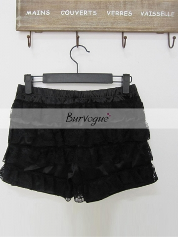 Super Beautiful Pure Black Lace Culottes For Ladies