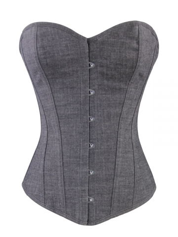 Plain Corset Tops Lady Denim Corset For Waist Training