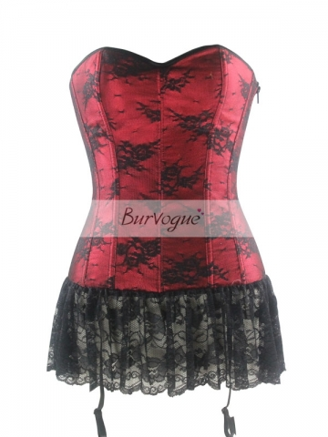 Wholesale Red Black Lace Hem Overbust Women Corset Tops