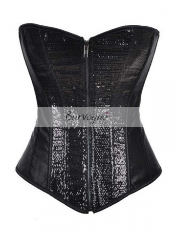 Fashion Sequins Black Top Women Corset Bustier Wholesale