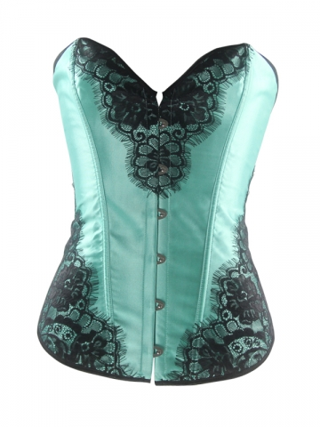 Wholesalw Green Satin Fashion Lace Overbust Corset Tops