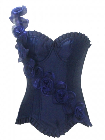 Wholesale Elegant Rose Flower Blue Corset Tops