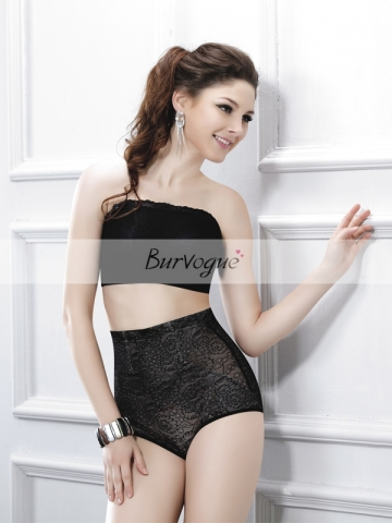 Fashion Black Ladies High Waist Flowers Girdle