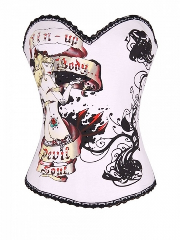 Wholesale White Ladies Pin-up Overbust Corset Tops