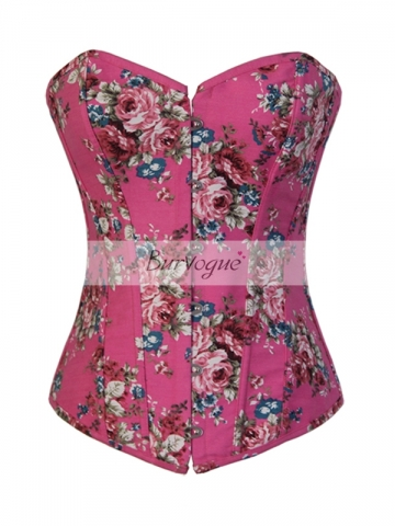 Beautiful Pink Rose Denim With Back Panel Corset