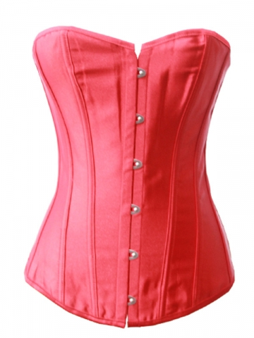 Super Beautiful Solid Red Overbust Corset Wholesale