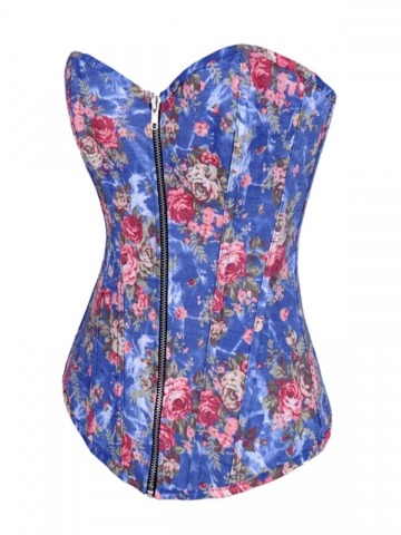 Floral Blue Denim Zipper Women Corset Wholesale