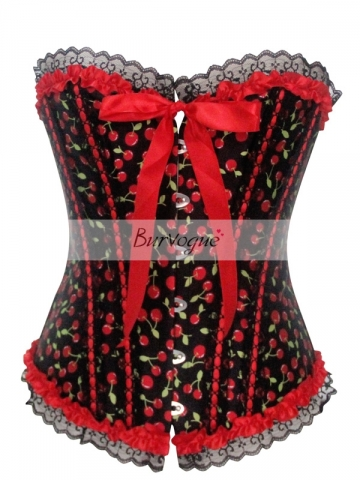 Cute Ribbon Bow Women Corset Tops With Cherry