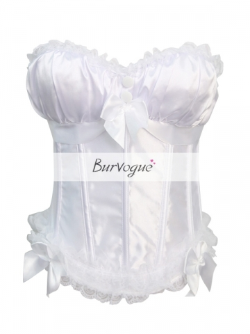White Cute Overbust Corset Wedding Tops Embroidered Fabric