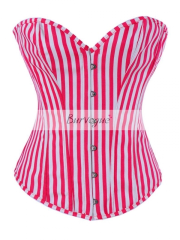Vertical Stripe Overbust Corset Fashion Bustier Red Tops