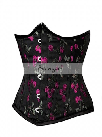 Beautiful Cherry Pattern Black Satin Waist Training Corset