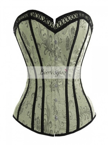 Victorian Floral Satin Overbust Corset Ribbon Bustier