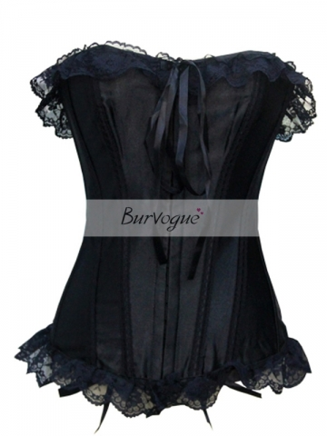 Elizabeth Black Corset Tops Ribbon Lace Bustier