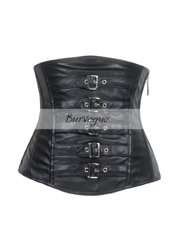 Black Zipper Women Leather Underbust Corset Training Bustier