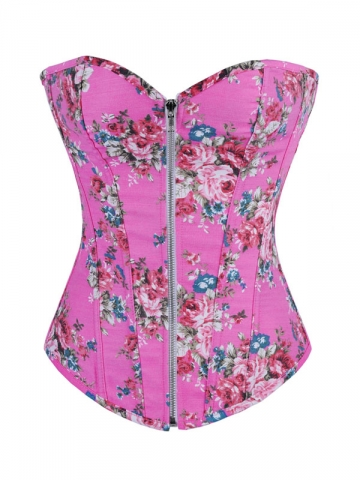 Women Pink Denim Bustier Rose Printed Corset Tops Wholesale