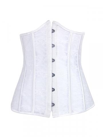 White Lace Wedding Corset Steel Bone Underbust Bridal Corset