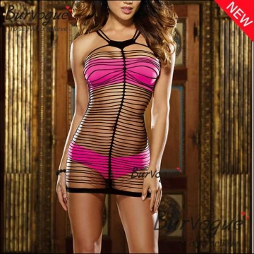 See Through Bodycon Dress With Hot Pink Bra Set Lingerie