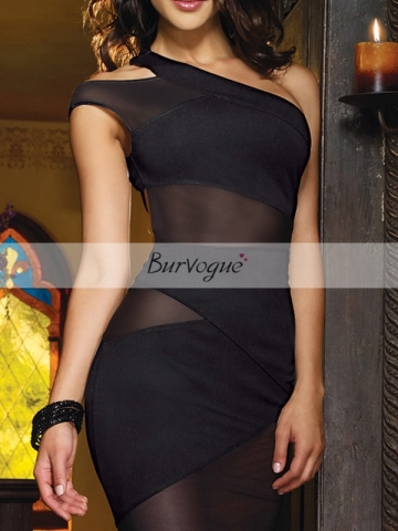 Black One Shoulder Dress Sheer Herve Leger Dress For Women