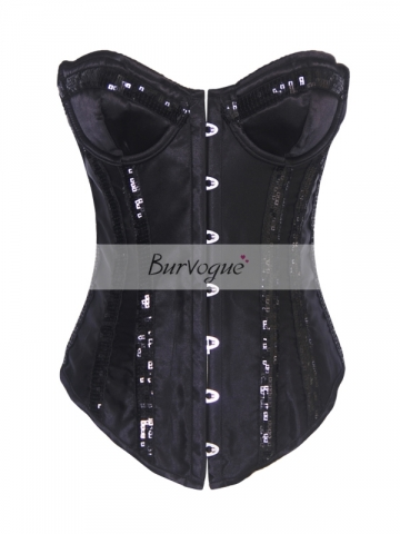 Sequin Black Bling Girl Halter Outwear Party Corset