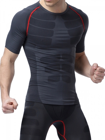 Mens Waist Trainer Fitness T Shirt Compression Undershirts