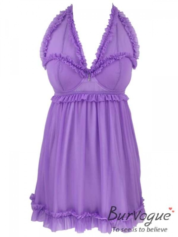 Purple Sexy Mesh Chemises Backless Lace BabyDolls Wholesale