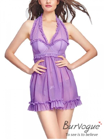 Purple Sexy Mesh Chemises Backless Lace BabyDolls Wholesale