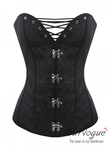 Women Dobby 10 Steel Boned Corset Lace Up Bustier Tops