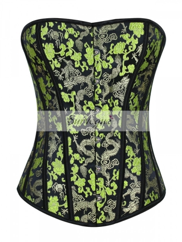 Green Waist Cincher Overbust Corset Tops With Dragon Pattern