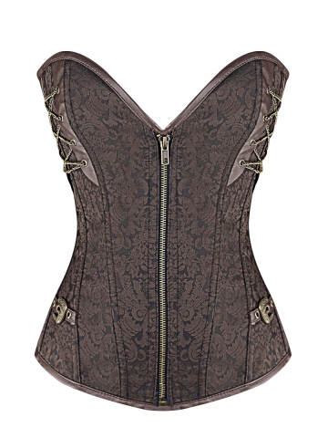 Brown Steel Boned Bustier Gothic Steampunk Corset Tops