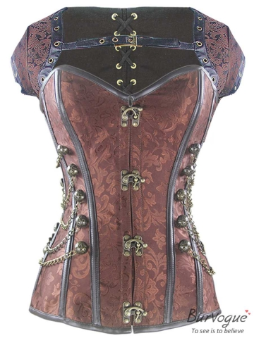 Gothic Steel Boned Steampunk Overbust Corset Tops Wholesale