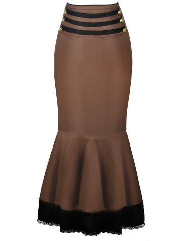 Brown Gothic Thin Bodycon Steampunk Corset Skirts Costumes