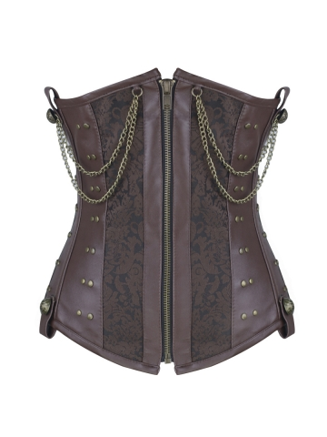 Leather 8 Steel Boned Waist Cincher Gothic Steampunk Corset