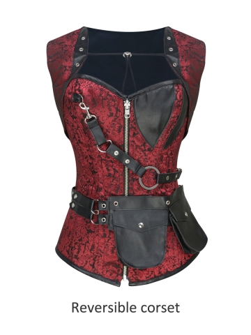 Double Steel Boned Gothic Reversible Steampunk Corset Tops