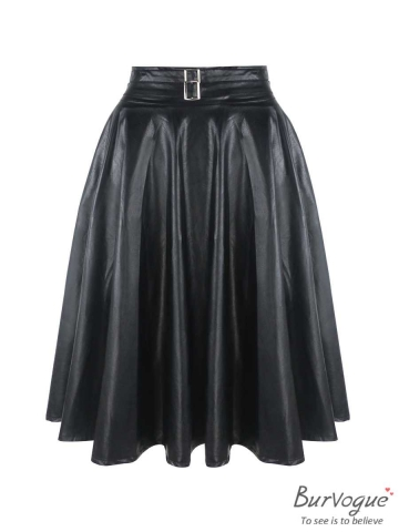 Vintage High Waist Faux Leather Midi Skater Steampunk Skirts