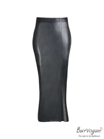 Womens High Waist Faux Leather Split Pencil Steampunk Skirts