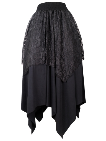 Black Elastic Gothic Irregular Long Lace Steampunk Skirts
