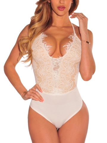 One Piece Deep V Lace Teddies Halter Bodysuits Lingerie