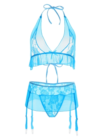 Sexy Lace Transparent Bra Sets Lingerie Sets With Garter