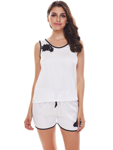 Womens Sleepwear Satin Camisole Embroidery Pajamas Sets