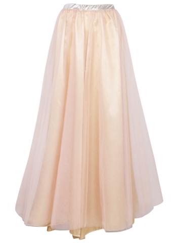 Women Vintage Satin Long Tulle Flool Length Maxi Skirts