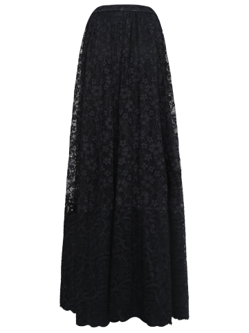 Women Elastic Waist Floral Lace Steampunk Maxi Skirts