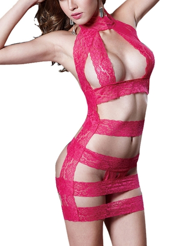 One Piece Lace Bodysuit Strappy Babydolls Lingerie For Women