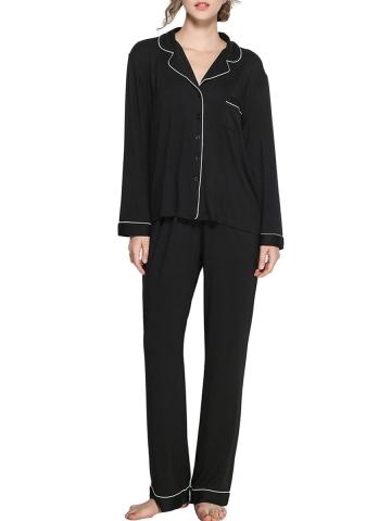 Women Modal Sleepwear Long Sleeve Elastic Waist Pajamas Sets
