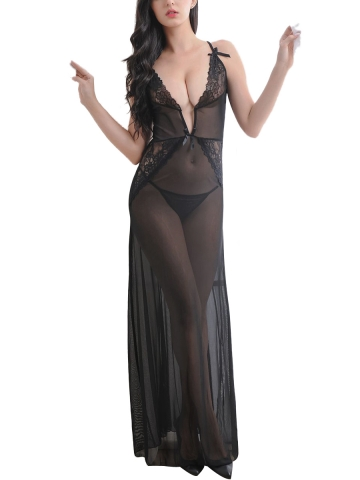 Sheer Lace V Neck Gown Dress Maxi Babydolls Lingerie Set