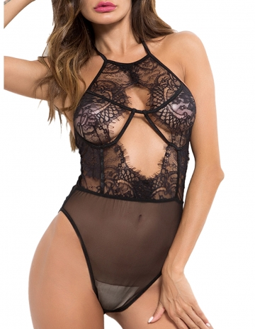 Halter Lingerie Teddy Deep V One Piece Eyelash Lace Babydoll
