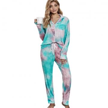 Lady Nightwear Loungewear Set Long Sleeve Pajamas Sleepwear