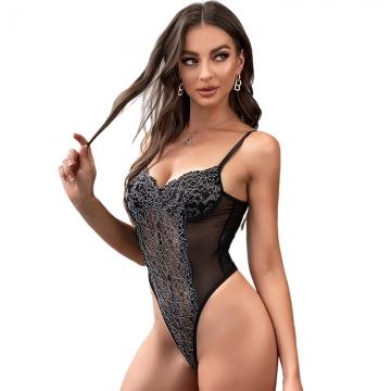 Mesh Lace Dress Transparent Bra Sexy Lingerie Pajama Teddies