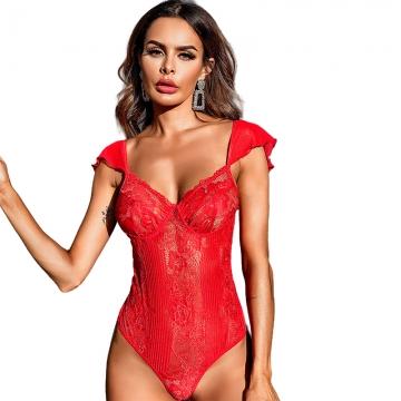 Red Sleepwear Dress Pajama Underwear Set Sexy Lingeries