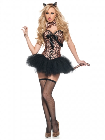 Leopard Corset with Thong,Headwear,Bowtie and Tail